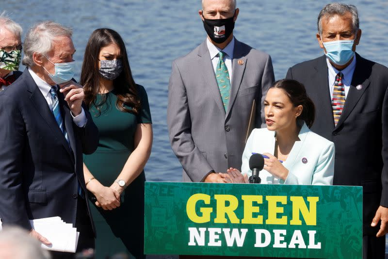 "Democratic lawmakers relaunch ""Green New Deal"" resolution on Capitol Hill in Washington"