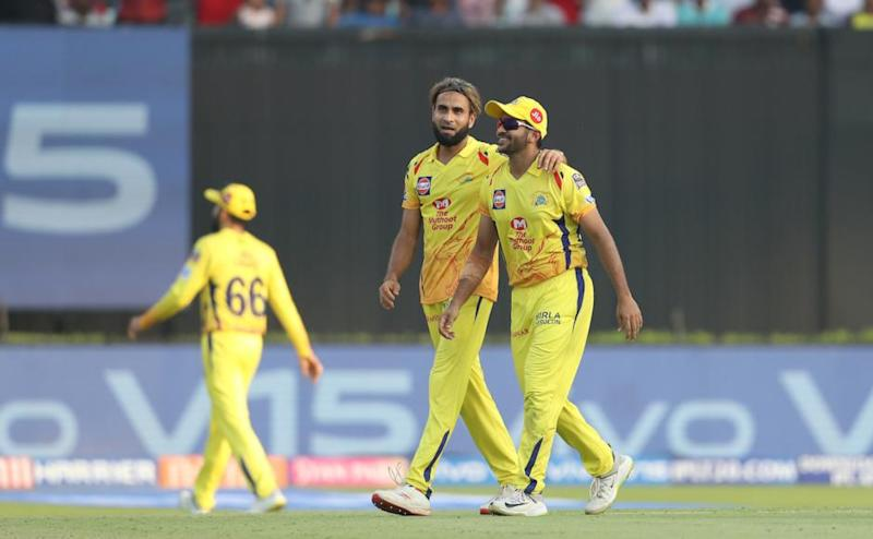 Imran Tahir of Chennai Super Kings and Shardul Thakur of Chennai Super Kings celebrate the wicket of Chris Lynn of Kolkata Knight Riders during match 29 of the Vivo Indian Premier League Season 12, 2019 between the Kolkata Knight Riders and the Chennai Super Kings held at the Eden Gardens Stadium in Kolkata on the 14th April 2019 Photo by: Ron Gaunt /SPORTZPICS for BCCI