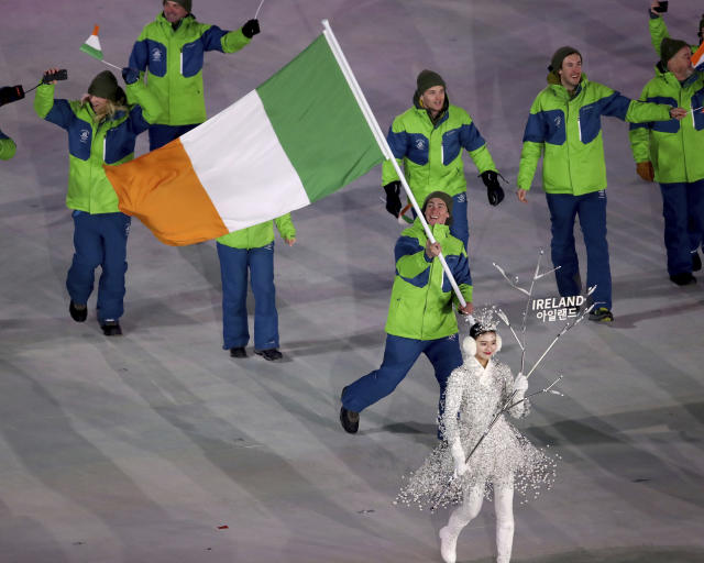 <p>Seamus O'Connor carries the flag of Ireland during the opening ceremony of the 2018 Winter Olympics in Pyeongchang, South Korea, Friday, Feb. 9, 2018. (Sean Haffey/Pool Photo via AP) </p>