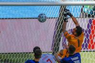 Martin Dubravka's clumsy attempt to tip the ball over his own crossbar spelled the end of Slovakia's tournament