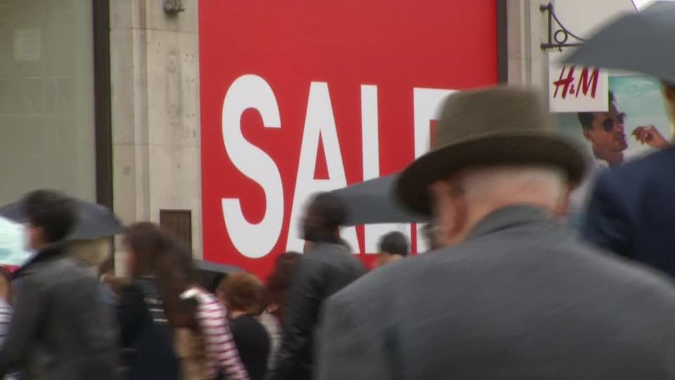 Fashion retailer H&M says sales fell during the last three months as fewer shoppers visited its stores, sending its shares plummeting and underlining its struggle to adapt to a shift of business online. Ciara Lee reports.