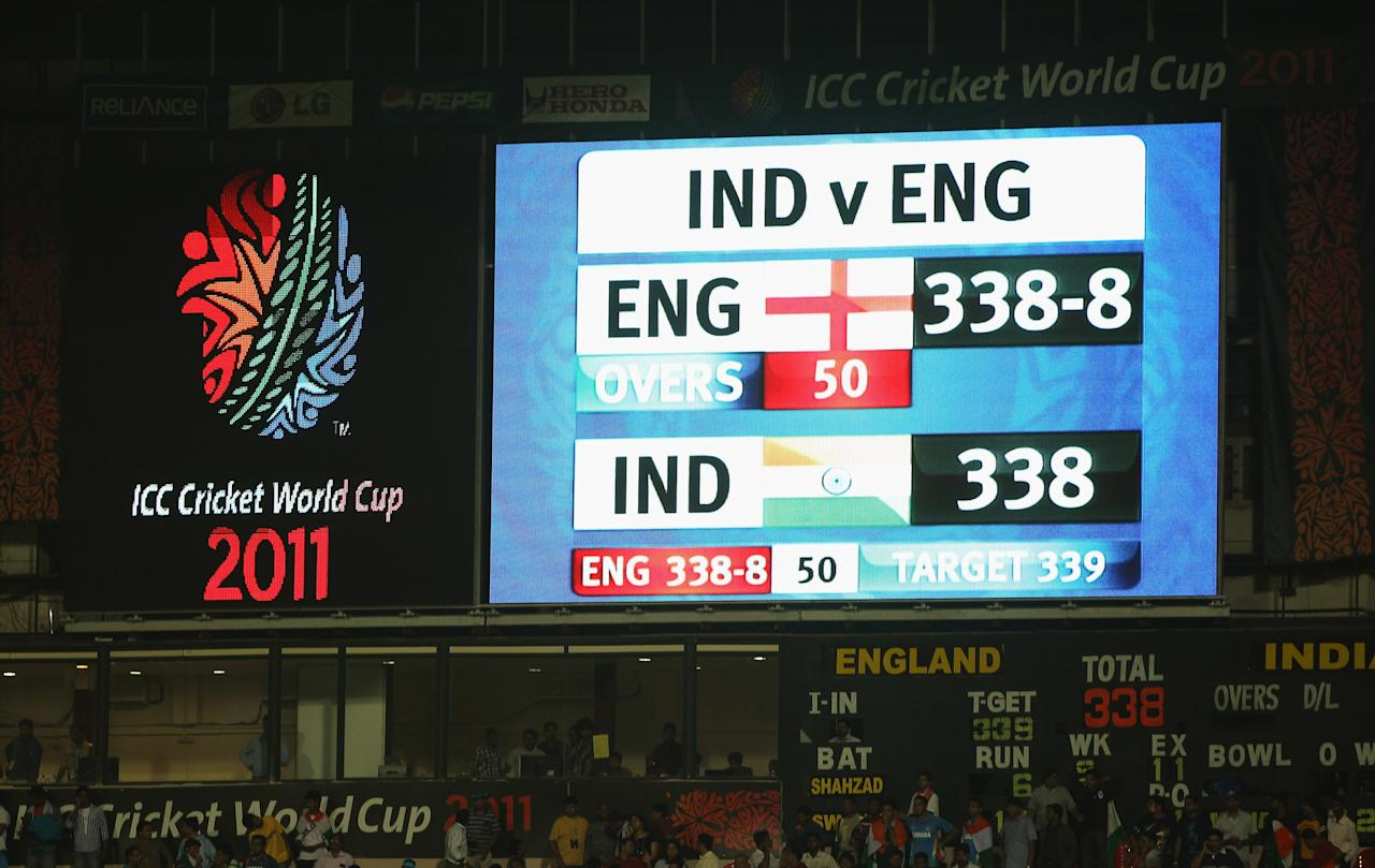 BANGALORE, INDIA - FEBRUARY 27:  The scoreboard at the end of the match shows the scores tied during the 2011 ICC World Cup Group B match between India and England at M. Chinnaswamy Stadium on February 27, 2011 in Bangalore, India.  (Photo by Tom Shaw/Getty Images)