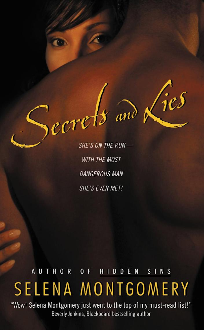 """<p>Originally published in 2006, <span><strong>Secrets and Lies</strong></span> ($16) follows Dr. Katelyn Lyda, who is running for her life after witnessing her uncle's murder. She winds up running into Sebastian Caine, a """"bad guy"""" she has a hard time resisting.</p>"""