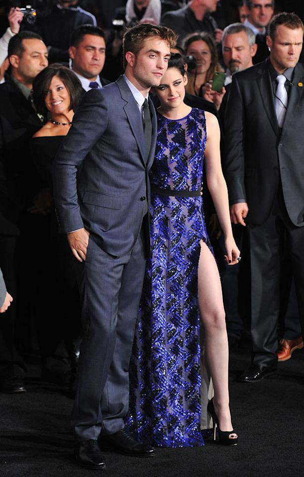"Robert Pattinson and Kristen Stewart arrive at the red carpet premiere for ""The Twilight Saga: Breaking Dawn – Part 1"" in Los Angeles, CA. (Photo by Vince Bucci/Yahoo!)"
