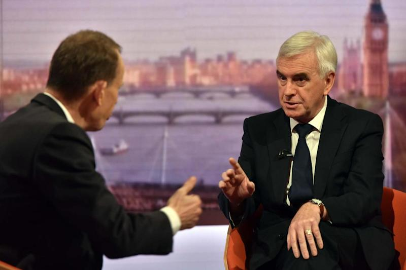 Shadow chancellor John McDonnell was quizzed by host Andrew Marr on Brexit. (PA)