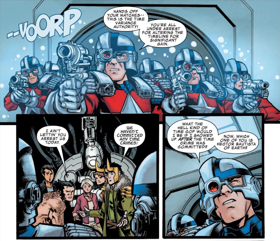 A page from Marvel Comics showing blaster-wielding soldiers representing the TVA.