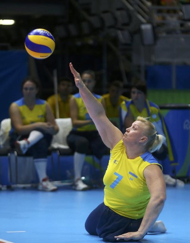 2016 Rio Paralympics - Sitting Volleyball - Women's Bronze Match - Riocentro Pavilion 6 - Rio de Janeiro, Brazil, 17/09/2016. Larysa Klochkova (UKR) of Ukraine in action. REUTERS/Pilar Olivares FOR EDITORIAL USE ONLY. NOT FOR SALE FOR MARKETING OR ADVERTISING CAMPAIGNS.