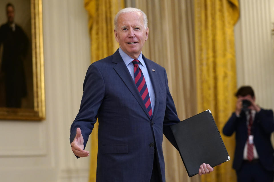 President Joe Biden answers a question from a reporter as he speaks about the coronavirus pandemic in the East Room of the White House in Washington, Tuesday, Aug. 3, 2021. (AP Photo/Susan Walsh)