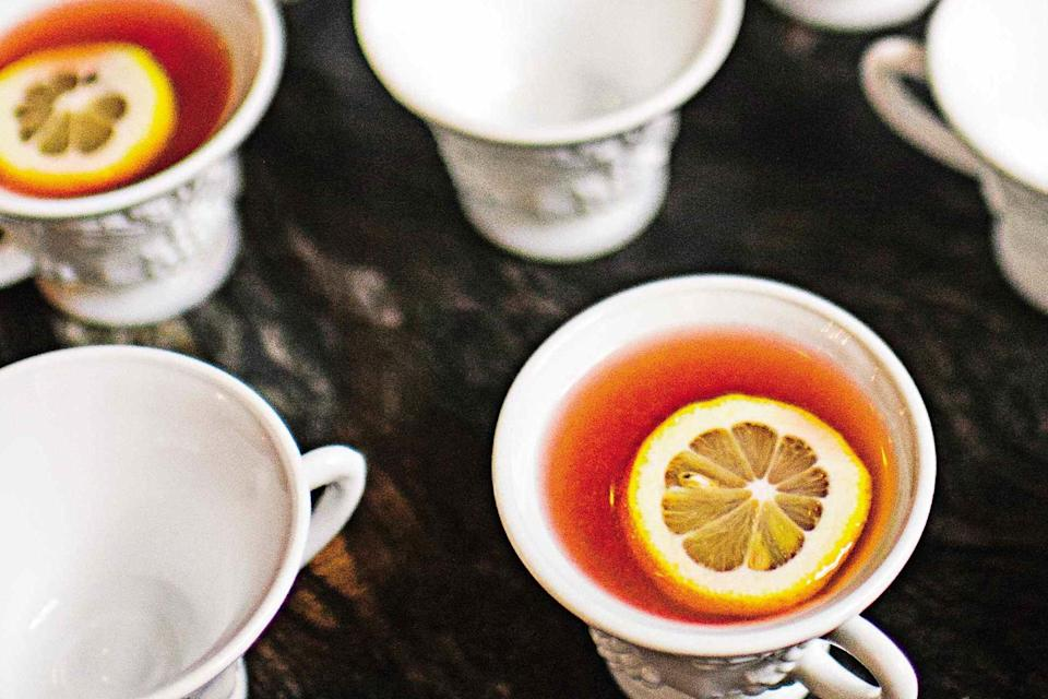 """Aperol and elderflower liqueur complement each other, especially when brightened with loads of fresh citrus. Cut this recipe in half for smaller gatherings. <a href=""""https://www.epicurious.com/recipes/food/views/boathouse-punch-56389846?mbid=synd_yahoo_rss"""" rel=""""nofollow noopener"""" target=""""_blank"""" data-ylk=""""slk:See recipe."""" class=""""link rapid-noclick-resp"""">See recipe.</a>"""