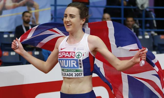 "<span class=""element-image__caption"">Laura Muir won gold medals in the women's 1500 and 3,000 metres at the European Indoor Championships in Belgrade in March.</span> <span class=""element-image__credit"">Photograph: Marko Drobnjakovic/AP</span>"