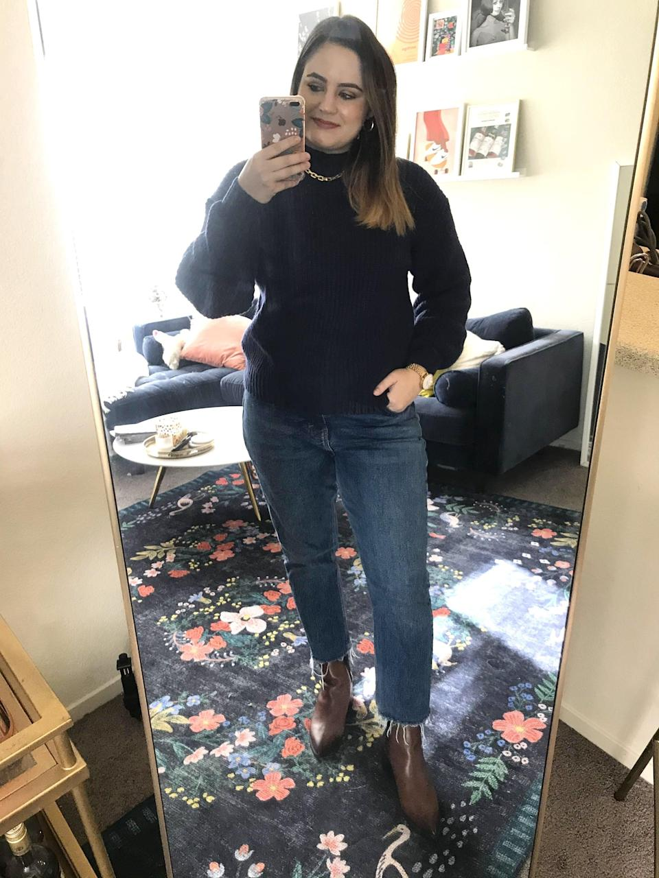 "<p><strong>The Style:</strong> <span>Old Navy Cozy Shaker-Stitch Mock-Neck Sweater</span> ($40)</p> <p><strong>The Review:</strong> ""I still can't believe the affordable price tag on this sweater, because the shaker-stitch weave and luxurious fabric make it both look and feel like a $100 find. It's incredibly soft and the navy blue option goes great with jeans. I love it so much I just bought it in gray as well. If you don't believe me, read all the five-star reviews on the site."" - Macy Cate Williams, senior editor, Shop </p>"