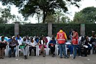 People donate blood in 2019 at the August 7th Memorial Park in Nairobi, the site of a 1998 attack that destroyed the US embassy