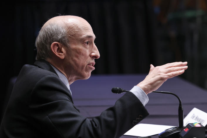 WASHINGTON, DC - SEPTEMBER 14: Gary Gensler, Chair of the U.S. Securities and Exchange Commission,  testifies before a Senate Banking, Housing, and Urban Affairs Committee oversight hearing on the SEC on September 14, 2021 in Washington, DC. (Photo by Evelyn Hockstein-Pool/Getty Images)