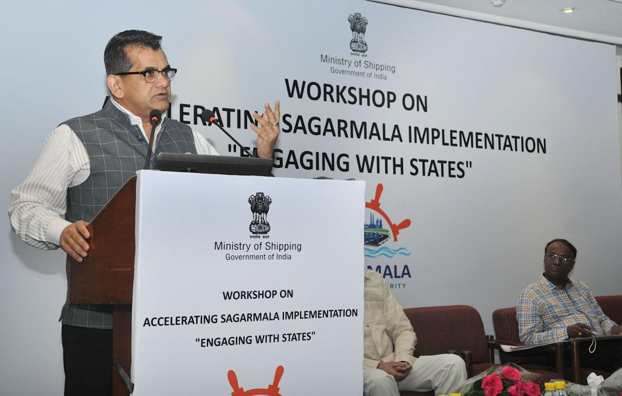 <p>Sagarmala Project: The Sagarmala Project aims to build a series of mega ports to promote port development, connectivity enhancement, port-linked industrialisation and coastal community development. It includes 415 projects, at an estimated investment of around Rs 8 lakh crore, from 2015 to 2035. </p>
