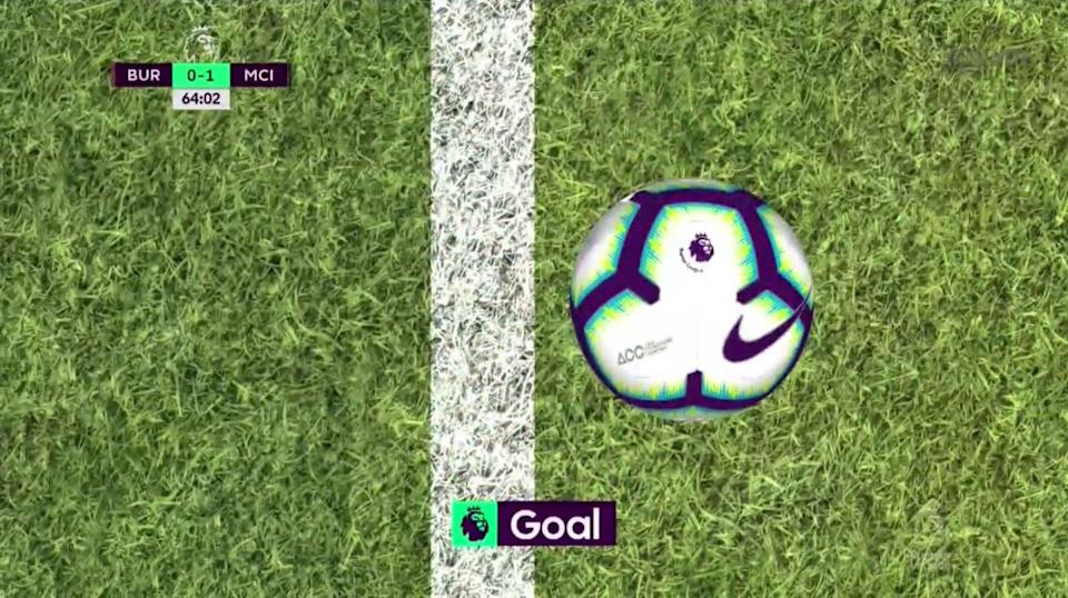 Sergio Aguero's blocked shot was 1.15 inches over the goal line. (NBC Sports Live Extra)
