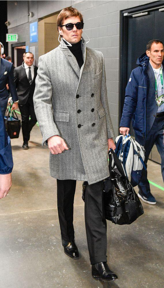 Tom Brady arriving at the U.S. Bank Stadium in Mineappolis, MN, for Super Bowl LII.
