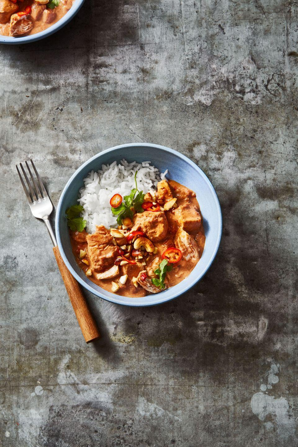 """<p>Cozy-up with your boo and a bowl of warm, comforting curry.</p><p><em><a href=""""https://www.goodhousekeeping.com/food-recipes/a10079/coconut-curry-chicken-recipe-ghk0510/"""" rel=""""nofollow noopener"""" target=""""_blank"""" data-ylk=""""slk:Get the recipe for Coconut Curry Chicken »"""" class=""""link rapid-noclick-resp"""">Get the recipe for Coconut Curry Chicken »</a></em> </p>"""