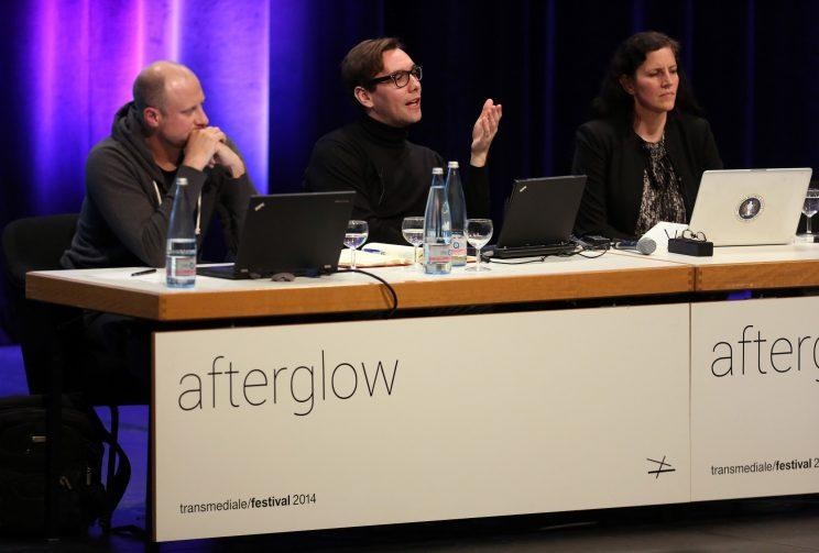 GettyImages-465973589: (L to R) Trevor Paglen, artist, geographer and author, Jacob Appelbaum, computer security researcher, hacker and photographer, and Laura Poitras, documentary filmmaker, attend the Transmediale festival for art and digital culture on January 30, 2014 in Berlin, Germany. (Photo: Adam Berry/Getty Images)