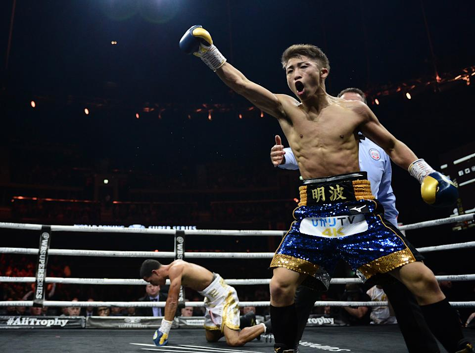 GLASGOW, SCOTLAND - MAY 18: Naoya Inoue of Japan (blue shorts), celebrates as he knock down Emmanuel Rodriguez of Puerto Rico (white shorts), during the WBSS Bantamweight Semi Final IBF World Championship fight at the  Muhammad Ali Trophy Semi-Finals - World Boxing Super Series Fight Night at The SSE Hydro on May 18, 2019 in Glasgow, Scotland. (Photo by Mark Runnacles/Getty Images)