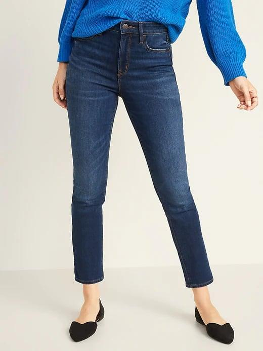 <p>These <span>Old Navy High-Waisted Power Slim Straight Jeans</span> ($40) are made of thicker denim that really holds its shape over time, and look so fab with heels on a night out.</p>