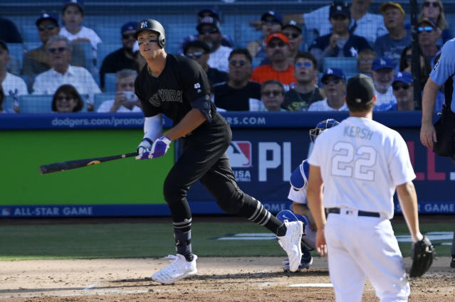 The Yankees' Aaron Judge hammered a 411-foot home run off Dodgers ace Clayton Kershaw in Sunday's 5-1 New York victory. (AP)