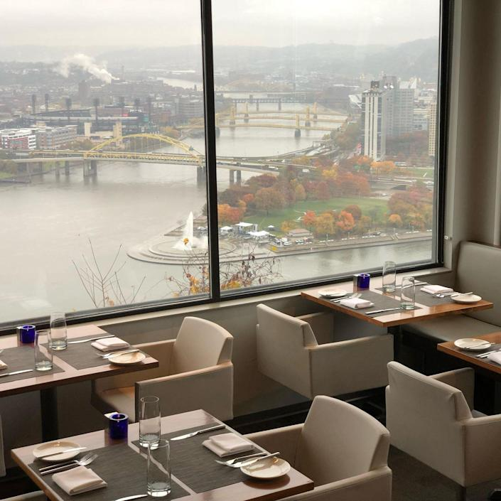 """<p><strong>Pittsburgh, Pennsylvania</strong></p><p>You'll want to request a table by the windows, where you can see (almost) all of the city. The contemporary American cuisine at <strong><a href=""""http://altiuspgh.com/"""" rel=""""nofollow noopener"""" target=""""_blank"""" data-ylk=""""slk:Altius"""" class=""""link rapid-noclick-resp"""">Altius</a></strong> will have you hooked, and is the ultimate spot for any special meal. </p>"""