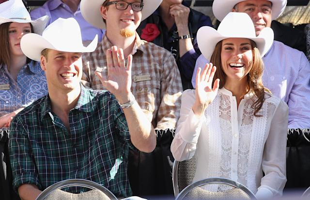CALGARY, AB - JULY 08: (FILE PHOTO) A year ago tomorrow Prince William married Kate Middleton in a ceremony at Westminster Abbey watched by millions around the globe. The Duke and Duchess of Cambridge's first year has seen them attend a number of public engagements including a tour of Canada and North America last summer. Please refer to the following profile on Getty Images Archival for further imagery: https://ec.yimg.com/ec?url=http%3a%2f%2fwww.gettyimages.co.uk%2fSearch%2fSearch.aspx%3fEventId%3d143604296%26amp%3besource%3dmaplinARC_uki_apr12&t=1521450046&sig=PYGX3p5QyfHxlIiI5KKnzg--~D Catherine, Duchess of Cambridge and Prince William, Duke of Cambridge wave as they attend the Calgary Stampede on July 8, 2011 in Calgary, Canada. The newly married Royal Couple are on the ninth day of their first joint overseas tour. The 12 day visit to North America is taking in some of the more remote areas of the country such as Prince Edward Island, Yellowknife and Calgary. The Royal couple started off their tour by joining millions of Canadians in taking part in Canada Day celebrations which mark Canada's 144th Birthday. (Photo by Chris Jackson/Getty Images)