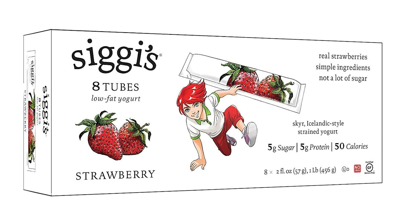 """<p><a href=""""https://www.popsugar.com/buy/Siggi%27s%20Low-Fat%20Yogurt%20Tubes-469360?p_name=Siggi%27s%20Low-Fat%20Yogurt%20Tubes&retailer=amazon.com&price=5&evar1=moms%3Aus&evar9=46266513&evar98=https%3A%2F%2Fwww.popsugar.com%2Ffamily%2Fphoto-gallery%2F46266513%2Fimage%2F46271457%2FSiggi-Low-Fat-Yogurt-Tubes&prop13=api&pdata=1"""" rel=""""nofollow"""" data-shoppable-link=""""1"""" target=""""_blank"""" class=""""ga-track"""" data-ga-category=""""Related"""" data-ga-label=""""https://www.amazon.com/Siggis-Low-Fat-Yogurt-Tubes-Strawberry/dp/B00LMC4ZZQ/ref=sr_1_8?fpw=fresh&amp;keywords=siggis&amp;qid=1563401386&amp;s=gateway&amp;sr=8-8"""" data-ga-action=""""In-Line Links"""">Siggi's Low-Fat Yogurt Tubes</a> ($5 for 8) have a thick, creamy texture and less sugar than many of the yogurt brands typically marketed toward kids. The strawberry flavor is a guaranteed kid-pleaser.</p>"""