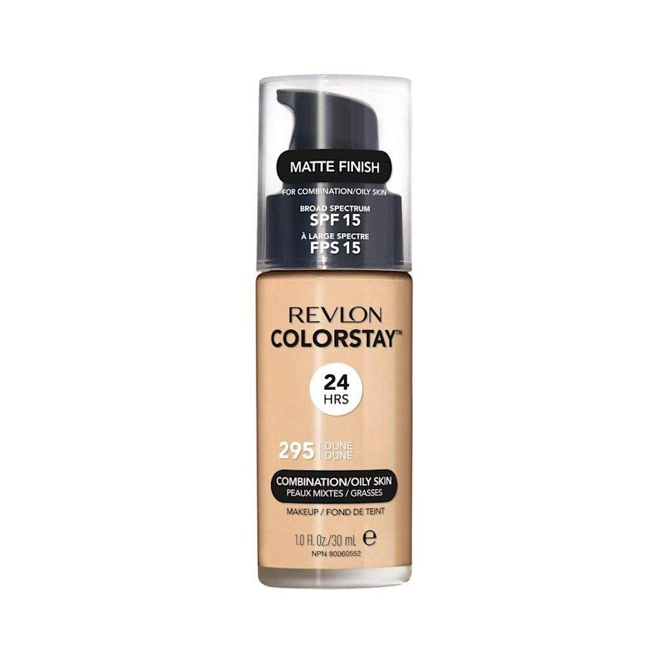 <p>It had been a while since I tried a Revlon foundation so I landed on the <span>Revlon ColorStay Makeup Longwear Liquid Foundation For Combination/Oily Skin SPF 15</span> ($9). Because it's formulated for combination skin, I was hoping it would help keep my chin and T-zone from getting shiny while wearing a mask. </p> <p>I made sure to set my entire face with a powder before putting on a mask. After wearing it around, I'm happy to report that it didn't rub off on the cloth interior.</p>