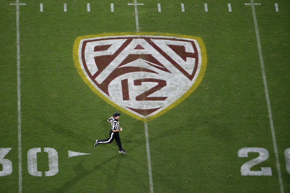 PAC-12 logo at Sun Devil Stadium during second half of an NCAA college football game between Arizona State and Kent State, Thursday, Aug. 29, 2019, in Tempe, Ariz. (AP Photo/Ralph Freso)