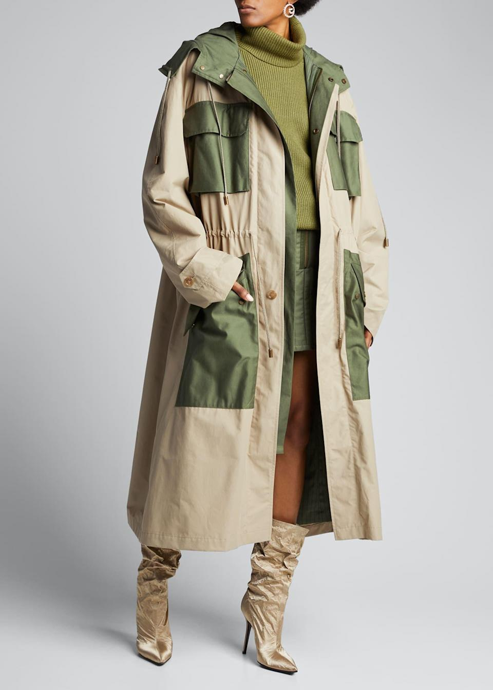 """<p><strong>Fenty</strong></p><p>https://www.bergdorfgoodman.com</p><p><strong>$1660.00</strong></p><p><a href=""""https://www.bergdorfgoodman.com/p/fenty-two-tone-oversized-trench-parka-prod155690036"""" rel=""""nofollow noopener"""" target=""""_blank"""" data-ylk=""""slk:Shop Now"""" class=""""link rapid-noclick-resp"""">Shop Now</a></p><p>Okay, I know this is pricey, but how could I not include?! The gorgeous two-tone colors and slightly roomy fit definitely makes this a """"wow"""" piece for a dreary day when you still want to look fab. </p>"""