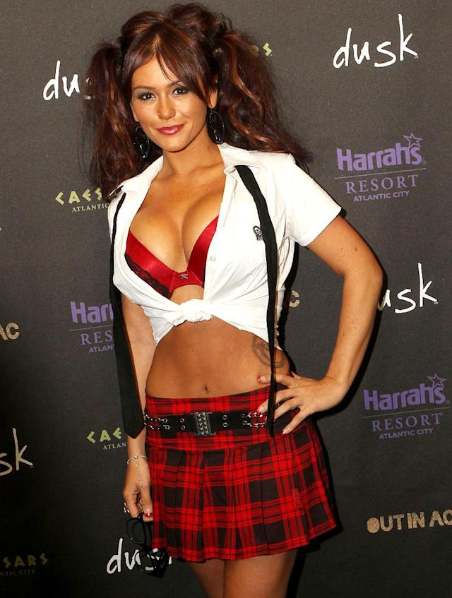 <p><em>Jersey Shore</em>'s JWoww made for a barely dressed schoolgirl when she hosted a Halloween bash in Atlantic City, N.J. (Photo: Getty Images) </p>