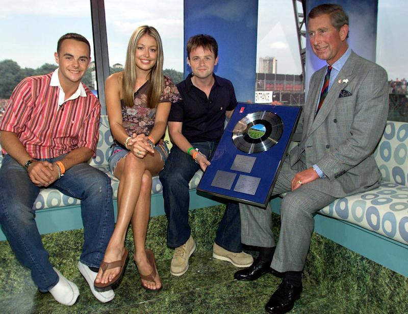 Ant McPartlin, right, and Declan Donnelly and co host Cat Deeley sit with The Prince of Wales at the Party in Park, held in Hyde Park central London. (Photo by PA Images via Getty Images)
