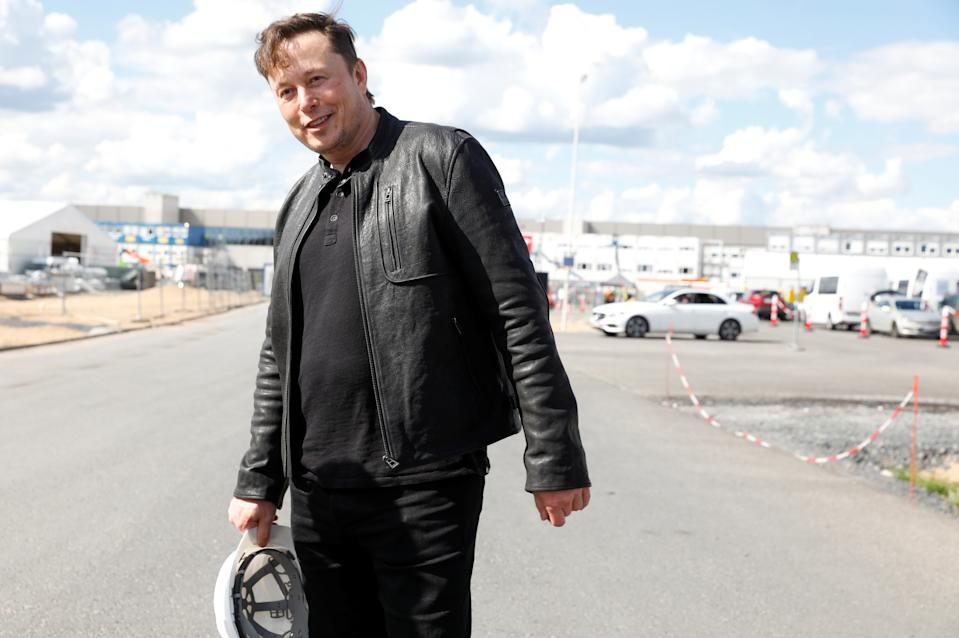 SpaceX founder and Tesla CEO Elon Musk looks on as he visits the construction site of Tesla's gigafactory in Gruenheide, near Berlin, Germany, on 17 May. Photo: Michele Tantussi/Reuters