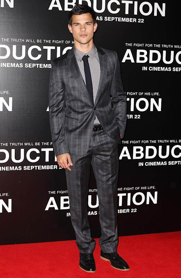 "Speaking of hotties, take a look at ""Twilight"" hunk Taylor Lautner, who got gussied up for the Sydney premiere of his new thriller, ""Abduction,"" in a debonair, monochromatic suit and patent leather kicks. Mark Metcalfe/<a href=""http://www.gettyimages.com/"" target=""new"">GettyImages.com</a> - August 23, 2011"