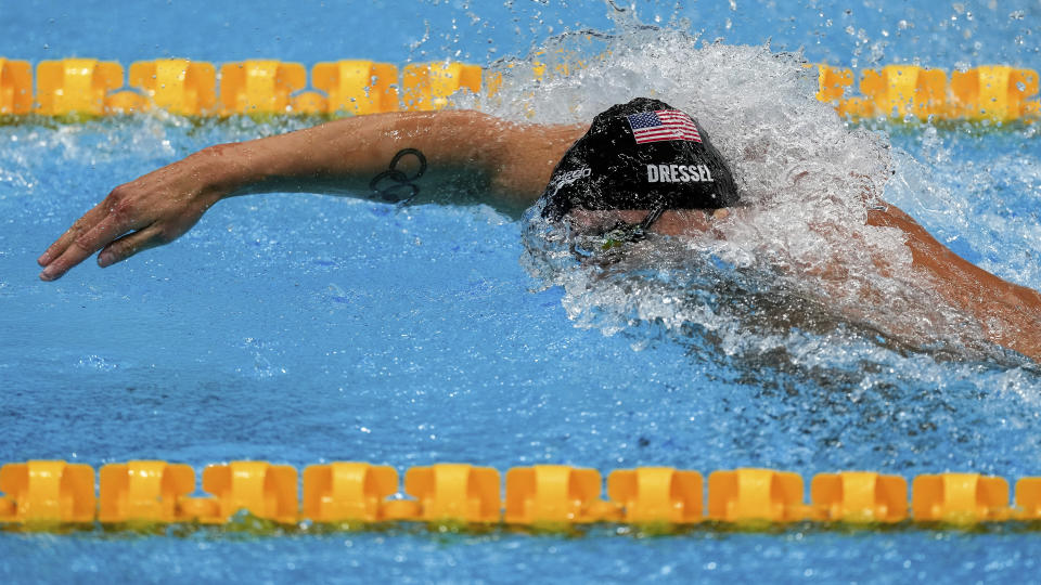 <p>Caeleb Dressel, of the United States, swims in a men's 100-meter freestyle semifinal at the 2020 Summer Olympics, Wednesday, July 28, 2021, in Tokyo, Japan. (AP Photo/Charlie Riedel)</p>