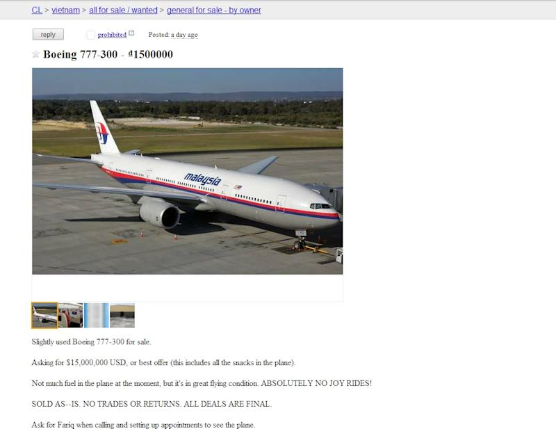 Missing Malaysia Airlines Flight MH370 Put on Fake Craigslist Ad