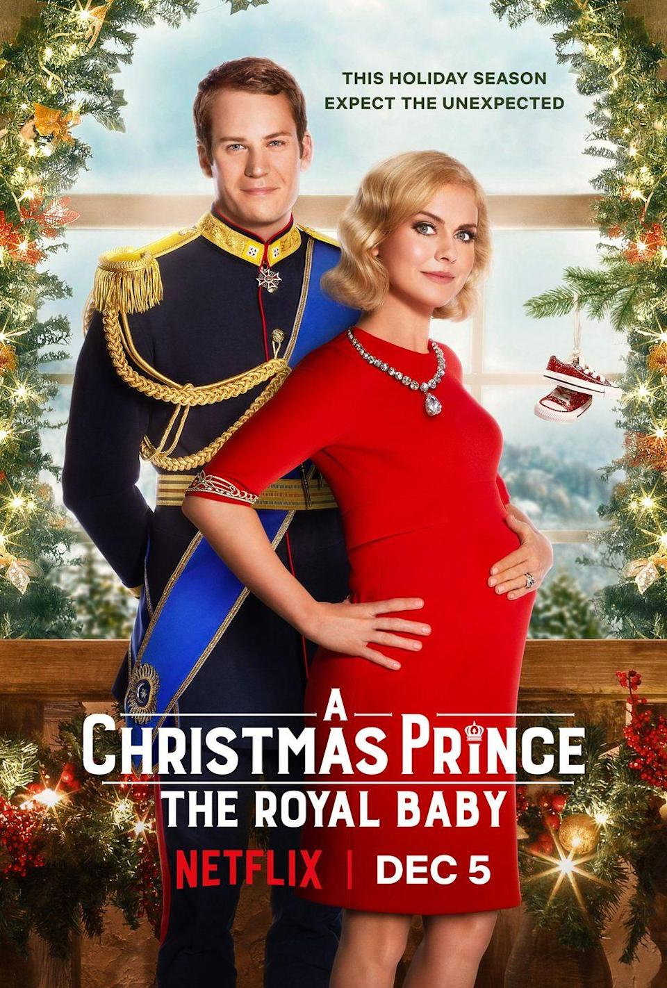"""<p>Still want more Aldovia? Netflix heard your pleas, and oh, have they answered. In <em>A</em> <em>Christmas Prince 3: The Royal Baby</em>, now Queen Amber and King Richard are getting ready to welcome the next heir to the throne, but things are about to get a little dicey (as they tend to do in the country right before Christmas). </p><p>When King Tai and Queen Ming visit to renew a sacred truce, and the treaty suddenly goes missing, Amber, Richard and Princess Emily only have until Christmas Eve to find it.</p><p><a class=""""link rapid-noclick-resp"""" href=""""https://www.netflix.com/title/81029841"""" rel=""""nofollow noopener"""" target=""""_blank"""" data-ylk=""""slk:Watch Now"""">Watch Now</a></p>"""