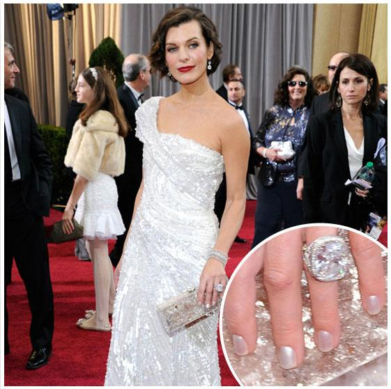 """<div class=""""caption-credit""""> Photo by: BellaSugar</div><div class=""""caption-title"""">Milla Jovovich: Her Oscars Nails</div>Dressed in Elie Saab, Milla Jovovich matched her pearlescent white nails to her Edie Parker clutch. <br>"""