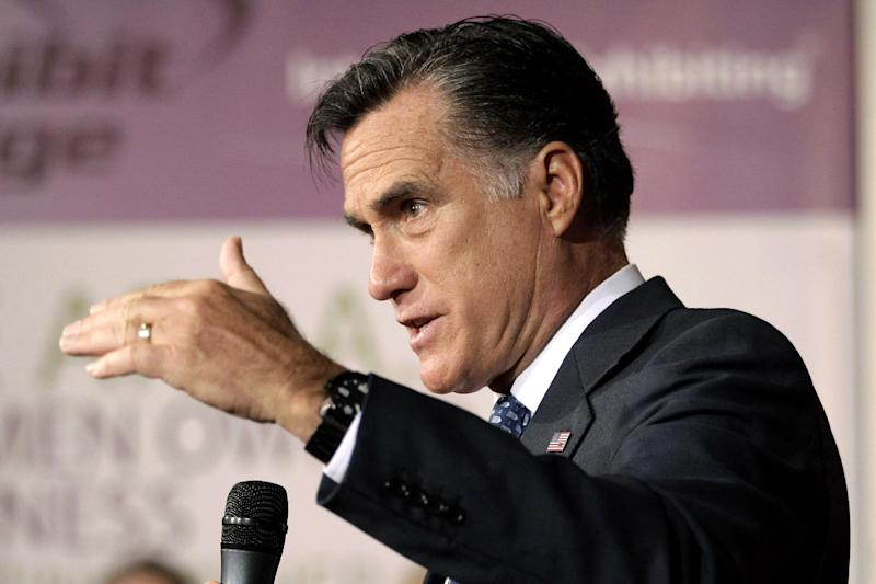 Republican presidential candidate, former Massachusetts Gov. Mitt Romney speaks at a campaign stop in Chantilly, Va., Wednesday, May 2, 2012. (AP Photo/Jae C. Hong)