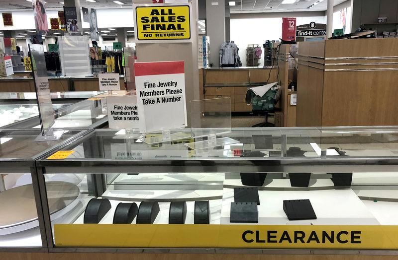 FILE PHOTO: An empty jewelry display case is seen inside a Sears department store in Nanuet