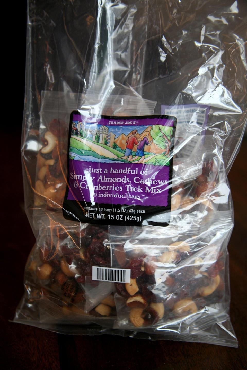 <p>For a quick protein-packed snack, Trader Joe's makes a few varieties of premade trail mix packs, so you can grab these instead of making them yourself. </p>