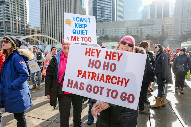 "<p>Protesters rally at the ""2018 Women's March On Toronto: Defining Our Future"" in Toronto, Canada, Jan. 20, 2018. (Photo: Shawn Goldberg/REX/Shutterstock) </p>"