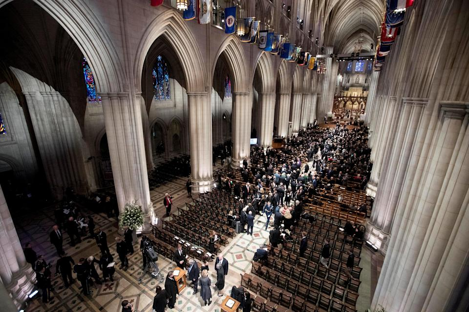 Visitors gather before a State Funeral for former President George H.W. Bush at the National Cathedral in Washington, D.C., Dec. 5, 2018. (Photo: Andrew Harnik/Pool via Reuters)