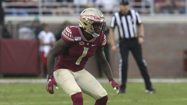 Florida State's Levonta Taylor reacts to the snap during an NCAA college football game with Syracuse, Saturday, Oct. 26, 2019 in Tallahassee Fla. Florida State won 35-17. (AP Photo/Steve Cannon)
