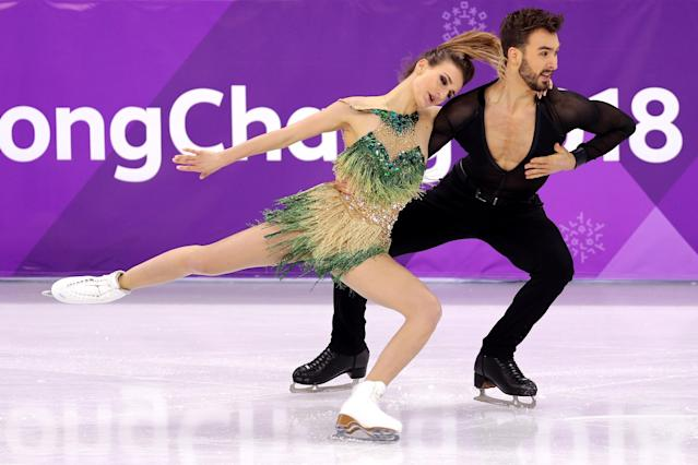 <p>Gabriella Papadakis and Guillaume Cizeron of France compete during the Figure Skating Ice Dance Short Dance on day 10 of the PyeongChang 2018 Winter Olympic Games at Gangneung Ice Arena on February 19, 2018 in Pyeongchang-gun, South Korea. (Photo by Maddie Meyer/Getty Images) </p>