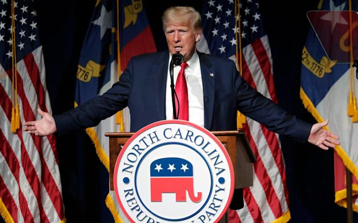 Donald Trump speaks at the North Carolina Republican Convention in Greenville - AP