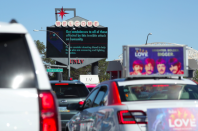 <p>Signs in Las Vegas contain condolences to the victims. (Reuters) </p>