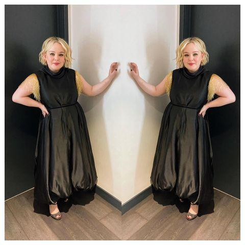 "<p>Coughlan wore a dress by JW Anderson for The Graham Norton Show.</p><p><a class=""link rapid-noclick-resp"" href=""https://go.redirectingat.com?id=127X1599956&url=https%3A%2F%2Fwww.net-a-porter.com%2Fen-gb%2Fshop%2Fsearch%2Fjw%2Banderson&sref=https%3A%2F%2Fwww.elle.com%2Fuk%2Ffashion%2Fcelebrity-style%2Fg35467465%2Fnicola-coughlan-style%2F"" rel=""nofollow noopener"" target=""_blank"" data-ylk=""slk:SHOP JW ANDERSON NOW"">SHOP JW ANDERSON NOW</a></p><p><a href=""https://www.instagram.com/p/CIqvckJAbtx/"" rel=""nofollow noopener"" target=""_blank"" data-ylk=""slk:See the original post on Instagram"" class=""link rapid-noclick-resp"">See the original post on Instagram</a></p>"