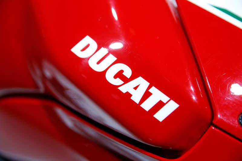 Ducati logo is pictured during the Volkswagen Group's annual general meeting in Berlin